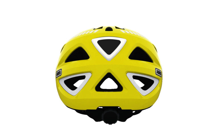 Abus Urban-I Helmet Signal Yellow with Integrated LED Taillight - Propel Electric Bikes