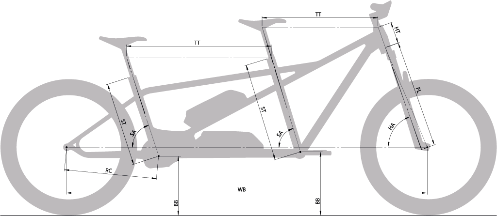 Moustache Tandem electric bike Sizing