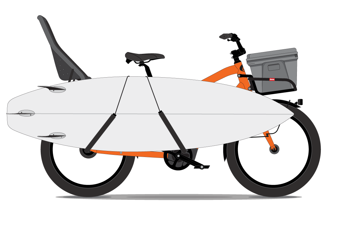 The Veach Bike - Child, Surfboard and Cooler - Propel Electric Bikes